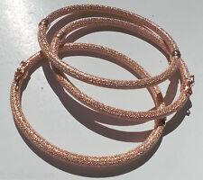 ITALIAN Beauty 5.5g Solid 14K Pink Rose Gold Sparkling MESH 4mm Bangle Bracelet