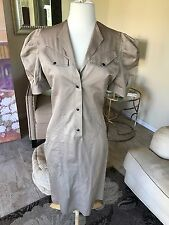 Thierry Mugler vintage tan avant garde sleeve dress w/ pleats size 40
