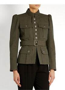 Women Green Wool Military Jacket Naval Officer Blazer Admiral Army Designer Coat