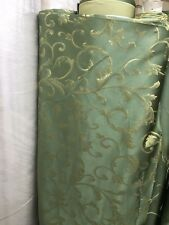 GREEN GOLD Brocade Flower Floral Upholstery Fabric (110 in.) Sold BTY