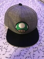 Youth SUPER MARIO Mushroom Green Grey Ball Cap Hat NINTENDO Fitted Small Size