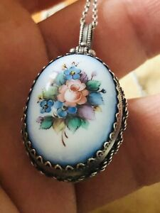 ANTIQUE ART DECO SILVER &FLORAL ENAMEL PENDANT RARE COLLECTABLE 1920S HANDMADE