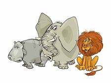 ART PRINT POSTER PAINTING DRAWING CARTOON ANIMALS LION HIPPO ELEPHANT LFMP0968