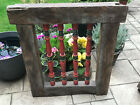 Vintage Indian Teak Wooden Coloured Window Jali Screen Salvaged from Rajasthan