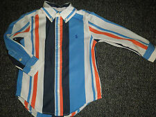 Ralph Lauren 3 3T Shirt Long Sleeve Striped Cotton Blue White Orange Pre-owned