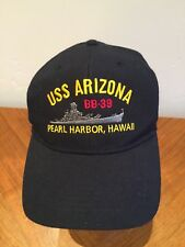 USS Arizona BB-39 Black With Gold Lettering Cap Hat Adjustable