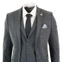 Mens Grey Black 3 Piece Tweed Suit Herringbone Wool Vintage Retro Peaky Blinders
