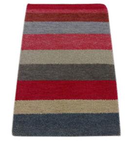 Gabbeh Teppich 60x89 cm Handgeknüpft  ~ 100% Wolle ~ Grau Rot Beige Blau M31