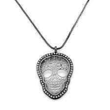 Women Rhinestone Skull Skeleton Head Copper Pendant Long Sweater Chain Necklace