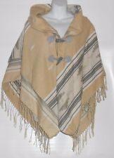 Claire's Ladies Shawl Collar Fringed Cape Wrap Poncho Tan Multi O/S NWT