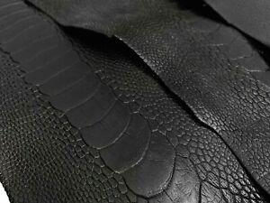 Ostrich Legs Skin Leather Black Color G.A (%100 Genuine Ostrich Leather)