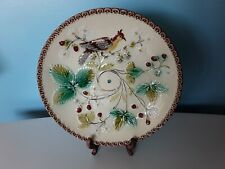 Antique Vintage Majolica Strawberry Leaf Ceramic Serving Plate Dish with handle