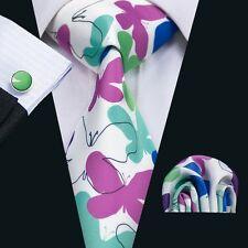 SN-1291 Men's Tie Newest Printing Silk Necktie Set Cufflinks Hanky Butterfly