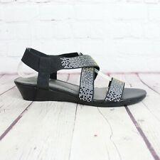 IMPO Stretch Flex Black Rhinestone Sandals Size 8 M Ankle Strap Elastic Sandals