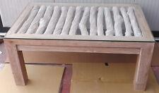 Tavolo da caffè fumo in teak massello e liane cm 100x60x45h bianco decapato sala