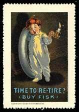 """USA Poster Stamp - Fisk Tires """"Time to Re-Tire?"""" Boy in Pajamas with Tire"""
