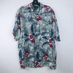 Expressions Mens Blue Floral Classic Sleeveless Hawaiian Shirt Dress Sz M EUC