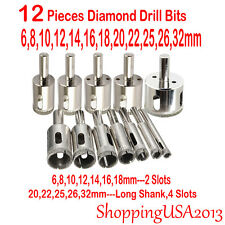 12Pcs 6-32mm Diamond Drill Bits Hole Saw Cutter Tool Glass Marble Granite Tile**