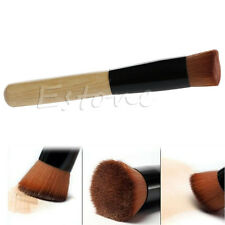 Angled Flat Top Face Base Liquid Foundation Cosmetic Bamboo Makeup Buffer Brush