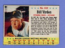1963 POST CEREAL CARD # 142 BILL VIRDON  PITTSBURGH PIRATES..........2266