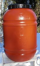 "PLASTIC BARREL 55 GALLON  - TERRA COTTA - ""FOOD  GRADE"" - Open Top Screw on Lid"