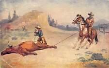 Cowboys Branding Steer 1909 Postcard Artist Signed R.A. Davenport Sidney Iowa