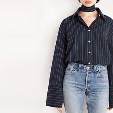 striped loose cuff long sleeve shirt blouse v neck women korean BTS Jin V Jimin
