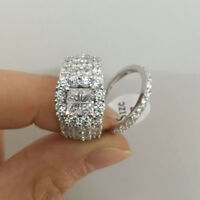 4CT Princess Cubic Zirconia CZ 925 Sterling Silver Wedding Engagement Ring Set
