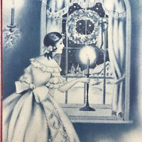 Vintage Mid Century Christmas Greeting Card Girl Victorian Dress Looking Window