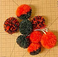 Wool-Yarn-Pom Pom-toy-8x Pompom-Handmade-Orange & Black-Crafts