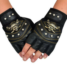 PU Leather Skull Punk Driving Motorcycle Bike Fingerless Gloves For Men Women