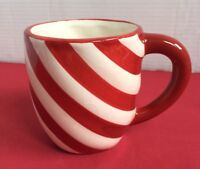 """Hand Painted Red Sripe Mug by Just For You by Megatoys 4""""by 3 1/2"""""""