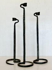 Set of 3 ANTIQUE Vintage FOLK ART NOUVEAU Arts Crafts WROUGHT IRON CANDLESTICKS