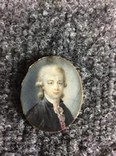 ANTIQUE 1700s FRENCH MINIATURE PORTRAIT OF CHEVALIER OR NOBILITY