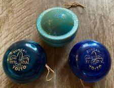 Vintage Duncan Yo Yo Lot-2 Blue Imperials & 1 Robin's Egg Blue Satellite