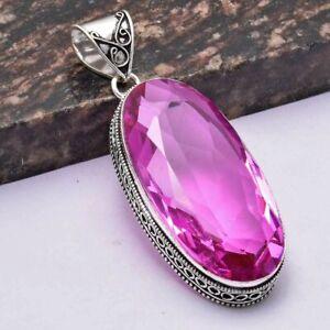 "Pink Topaz Ethnic Handmade Antique Design Pendant Jewelry 3"" AP 30969"