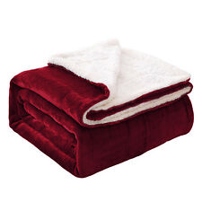Burgundy Sherpa Flannel Fleece Reversible Blanket Super Soft Bedding Throws