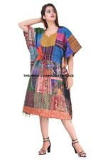 Women Bohemian Kaftan Casual Dress Indian Silk Patchwork One Piece Tunic Caftan