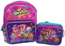 "Shopkins Large School 16"" Backpack Lunch Bag 2pc Set New! Licensed New"