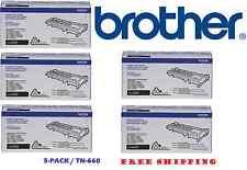 5-PACK BRAND NEW GENUINE BROTHER OEM TN660 Black Toner Cartridges - SEALED
