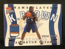 KWAME BROWN 2002-03 Fleer Platinum Nameplates PATCH Jersey #N-KB #d /355 WIZARDS