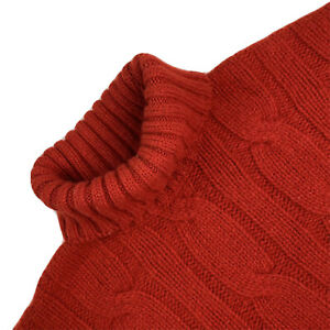 VTG XL Fisherman Out Of Ireland Heavy Wool Red Cable Knit Turtle Neck Sweater