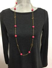 NWT Tory Burch Evie Logo Chain Pink (Dark Peony) Color Necklace # 51135905