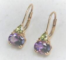 "Mystery Designer 7/8"" 14K Gold Purple Green Stone Leverback Earrings 2.5 grams"