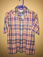 4822 Men's Vintage SAKS FIFTH AVENUE 1950's Bright Plaid Button Front Shirt Sz L