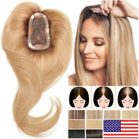 Free Part 100% Remy Human Hair Toupee Clip Silk Base Topper Hairpiece Extensions