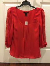 BNWT White House Black Market Red Flame Bow Sleeve Silk Blouse 4 $108