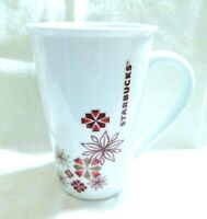 Starbucks 2013 Holiday Tall Latte Coffee Cup Mug Snowflakes Poinsettia Red Gold