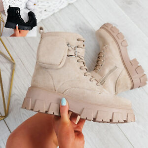 WOMENS LADIES ANKLE BOOTS CHUNKY PLATFORM SIDE ZIP BUCKLE LACES WOMEN SHOES