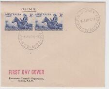 Stamps Australia 3&1/2d UPU pair OHMS Postmaster General's Sydney cachet FDC